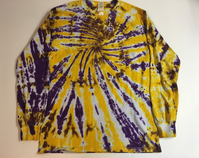 Purple and Gold Tie Dyed Long Sleeved Crew Neck Tee All Sizes