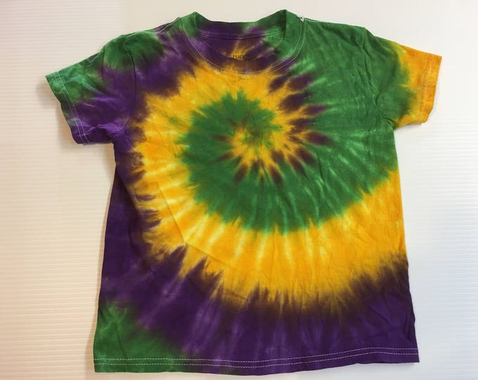 Mardi Gras Spiral Tie Dye Kids Shirt all sizes