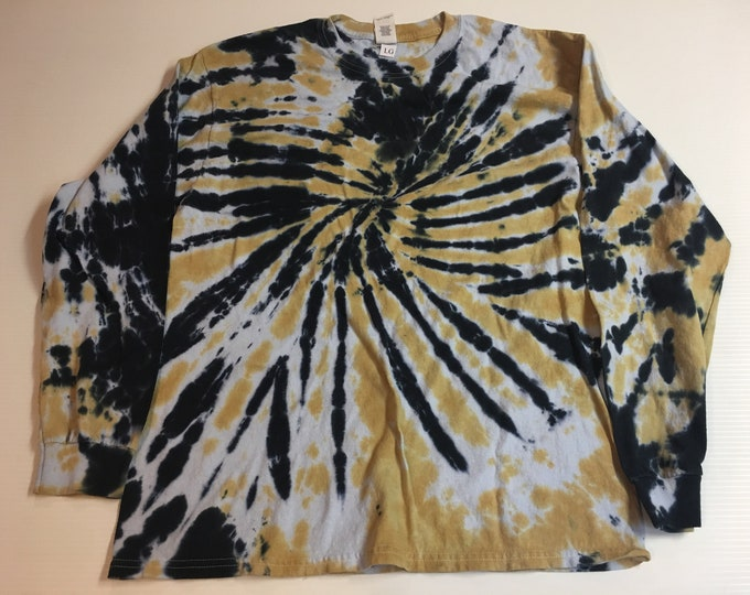 Black and Gold Tie Dyed Long Sleeved Crew Neck Tee Large and 3XL