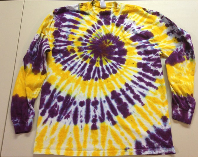 Purple and Gold  Spiral Tie Dyed Long Sleeved Crew Neck Tee All Sizes