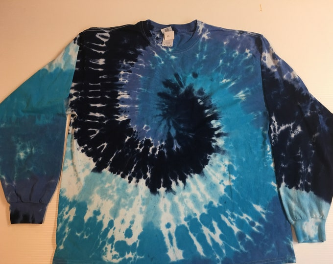 Shades of Blue Tie Dyed Long Sleeved Crew Neck Tee All Sizes