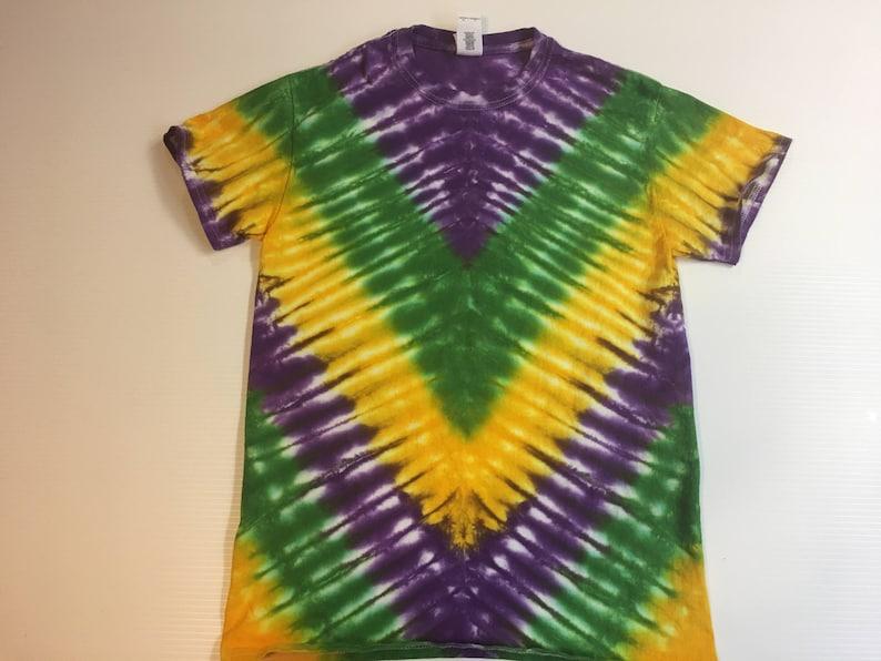 078ef3ee6627a Mardi Gras V pattern Tie Dye Tee Shirt all sizes
