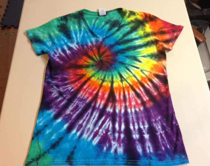 """Ladies V-neck """"Stained Glass"""" Rainbow Spiral Tie Dyed Tee Multiple sizes"""
