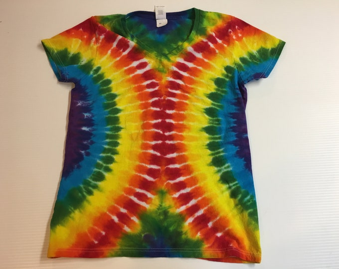 Ladies One of a Kind Rainbow Tie Dyed V Neck
