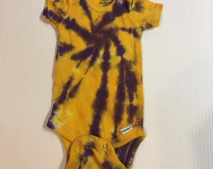 Tie Dyed LSU colored Baby Onesie all sizes