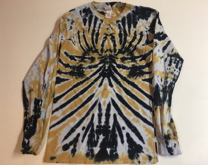 Black and Gold Spider Spiral Tie Dyed Long Sleeved Crew Neck Tee Small