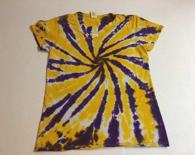 Ladies Purple and Gold Starburst Spiral Tie Dyed V Neck Tee