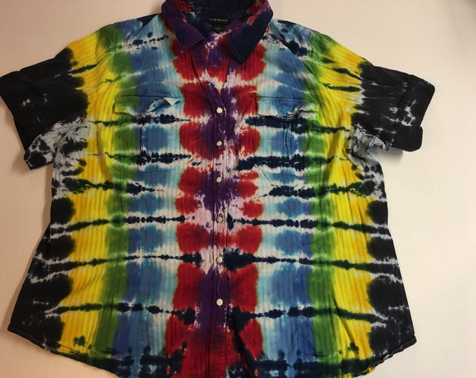 Ladies one of a Kind Rainbow Tie Dyed Collard Button Down Shirt