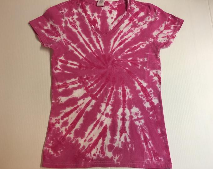 Ladies Sized Spiral Tie Dye V Neck t-shirt