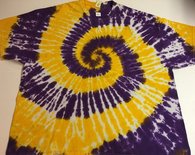 Purple and Gold Spiral Tie Dyed Tee ALL SIZES