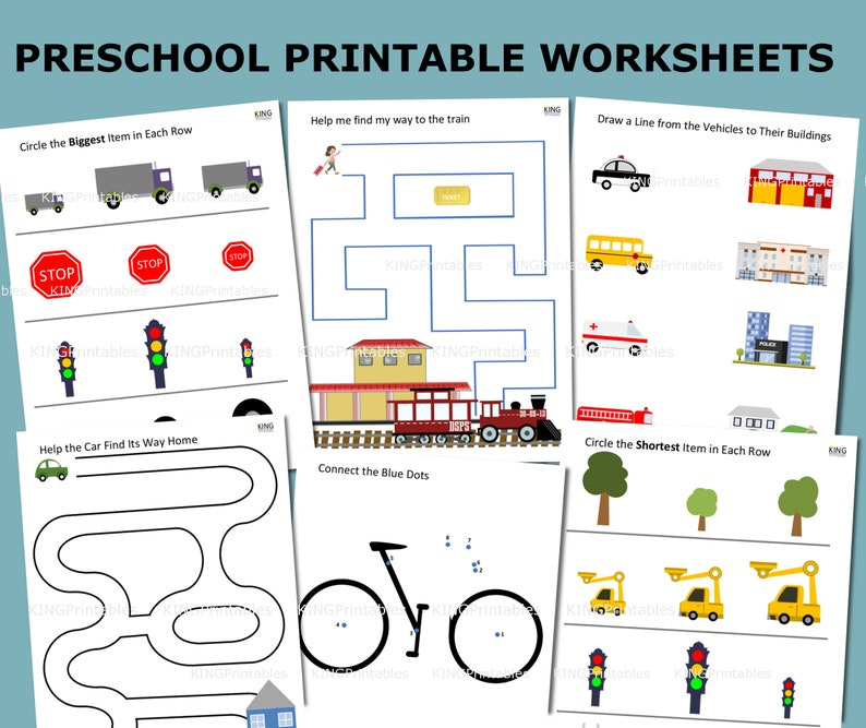 Printable Activity Pages, Preschool Learning Pack, File Folder Games, Pre-k  Worksheets, Transportation Party Favor, Busy Binder Pages