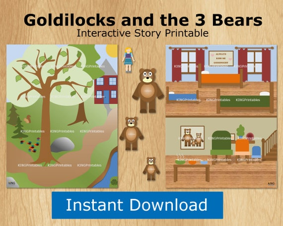 This is a picture of Goldilocks and the Three Bears Story Printable with writing sequence
