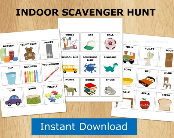 indoor scavenger hunt, kids printables, preschool games, toddler activity  folder, busy binder, matching game, rainy day play
