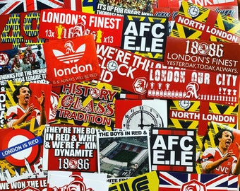 100 x Arsenal FC Stickers  - Based on Scarf Shirt Banner Programme Highbury Clock Poster Pin Badge Flag AFC Gunners Ultras