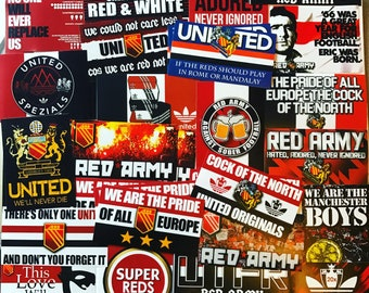 d443d4b74 100 x Man United Stickers - Based on Programme Badge Poster Scarf Ultras  T-shirts Manchester MUFC Stone Roses Utd Adidas Flag Old Trafford