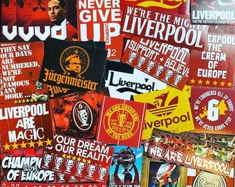 100 x Liverpool Stickers - Based on Poster Programme Shirt Pin Badge Scarf Mug 6 Times Anfield YNWA Kop LFC Gerrard Flags Ultras