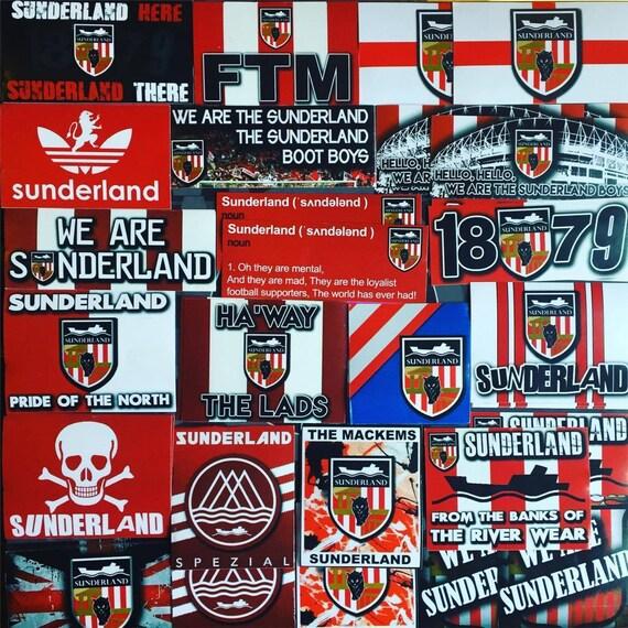 Stadium Lights Ebay: 100 X Sunderland Stickers Based On SAFC Poster Shirt Scarf