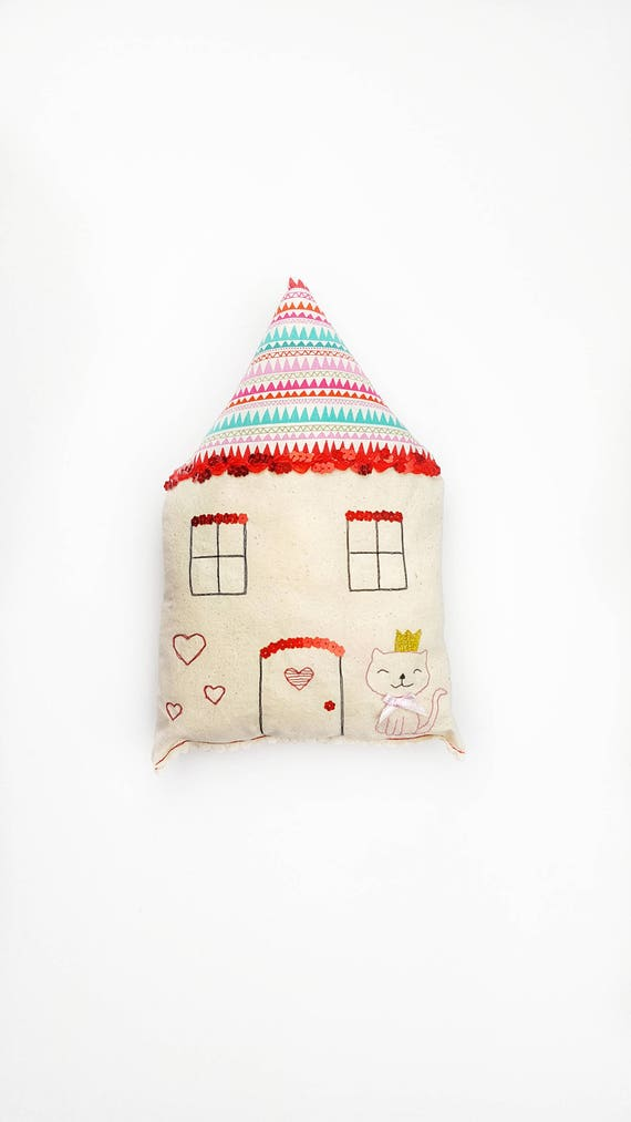 House Shaped Pillow Cute Cottage Cushion Pillow Nursery Decor Kids Room Decor Bedroom Decor Boys And Girls