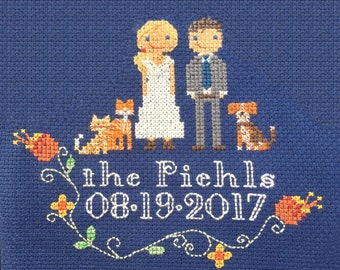 Cross Stitch Family Portrait - Perfect for Weddings, Anniversaries, Births