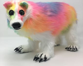 Badger poseable art doll - fantasy rainbow animal