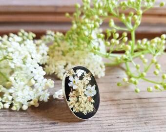 Sterling silver 925 ring with elderflowers