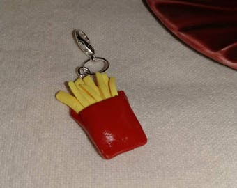 Polymer clay, French fry, charm