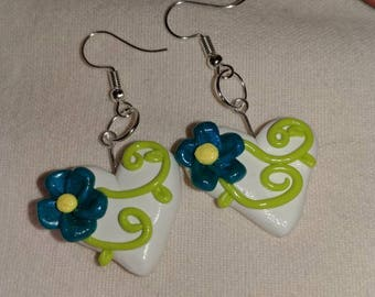 Polymer clay, heart with flower, earrings