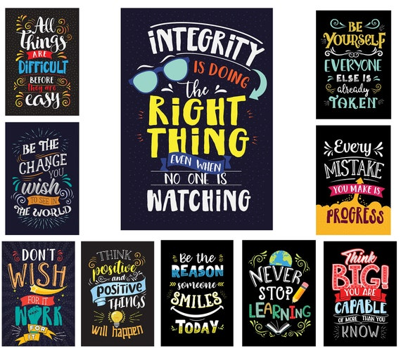 set of bright colors style motivational classroom posters