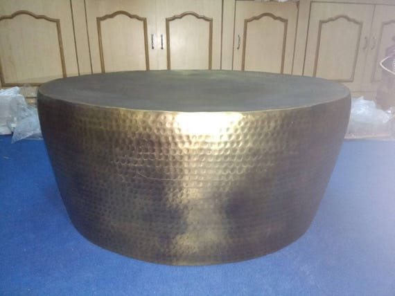 Gold Hammered Coffee Table Gold Coffee Table Brass Side Table Gold Round Coffee Table Brass Coffee Table Vintage Gold Look Table