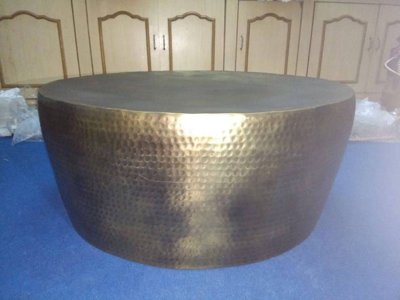 Gold Hammered Coffee Table, Gold Coffee Table, Brass Side Table Gold, Round  Coffee Table, Brass Coffee Table, Vintage Gold Look Table