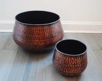 Copper planter with hammered finish, copper planter, hammered copper planter