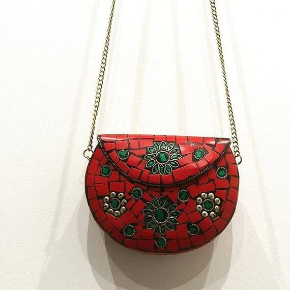 handgefertigte Tasche rote Tasche Mosaik-Tasche Metall rot | Etsy