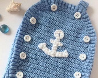 Crochet baby romper, Crochet baby boy nautical romper, Crochet baby romper with anchor, baby shower gift