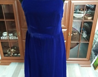01065194599 Vintage Approx. 60 s - 70 s Women Sky Blue Velvet Evening Dress on Wide  Strap Rigas House of Models
