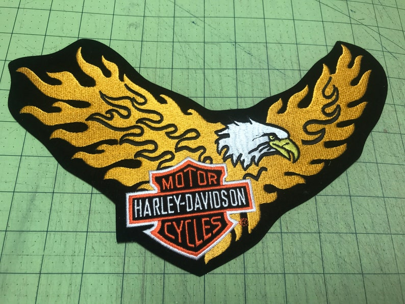 Harley Davidson Iron On Embroidered Eagle PatchWinged Motorcycle Jacket Harley PatchMotorcycle PatchesGolden Eagle Harley Davidson Patch