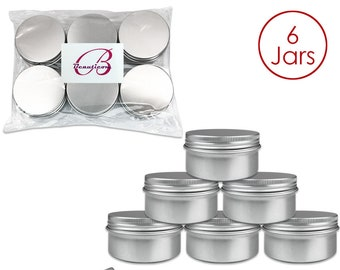 6 Piece 80 Gram 80 ml Silver Aluminum Tin Storage Jar Containers - Perfect for Homemade Candles Creams Scrubs Lotion Lip Balm Hand Butter
