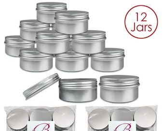 12 Piece 80 Gram 80 ml Silver Aluminum Tin Storage Jar Containers - Perfect for Homemade Candles Creams Scrubs Lotion Lip Balm Hand Butter
