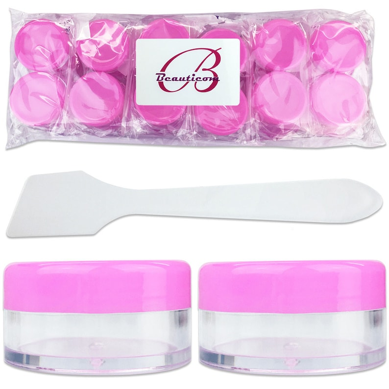 cfe2bdd9b9cd 10 Gram 10 ml Plastic Round Clear Container Jars with Pink Lids and  Spatulas - Sample Cream Lotion Lip Balm Hand Butter Scrub Salve Ointment