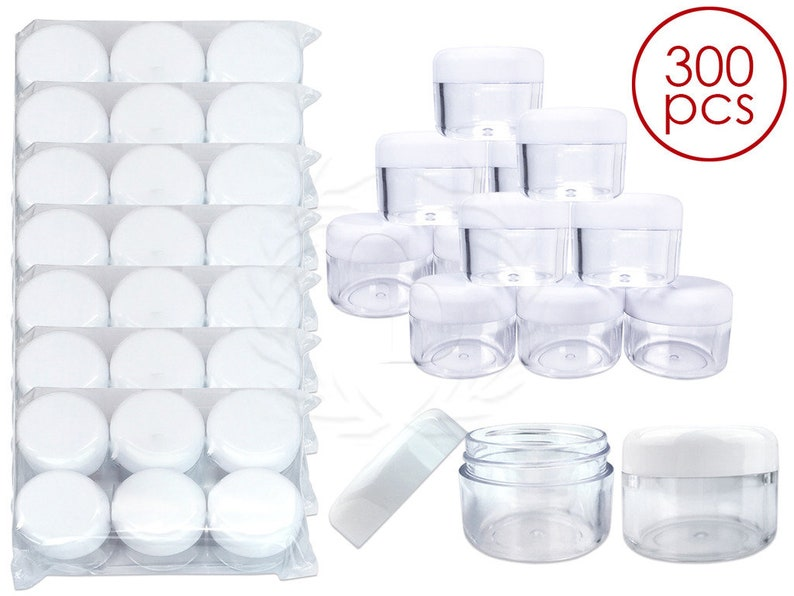 ed38801e74f2 300 Piece 1 Oz 30 Gram 30 ml Clear Acrylic Jar Containers with White Round  Top Lids for Makeup Glitter Cream Pigment Powders Salves Ointment