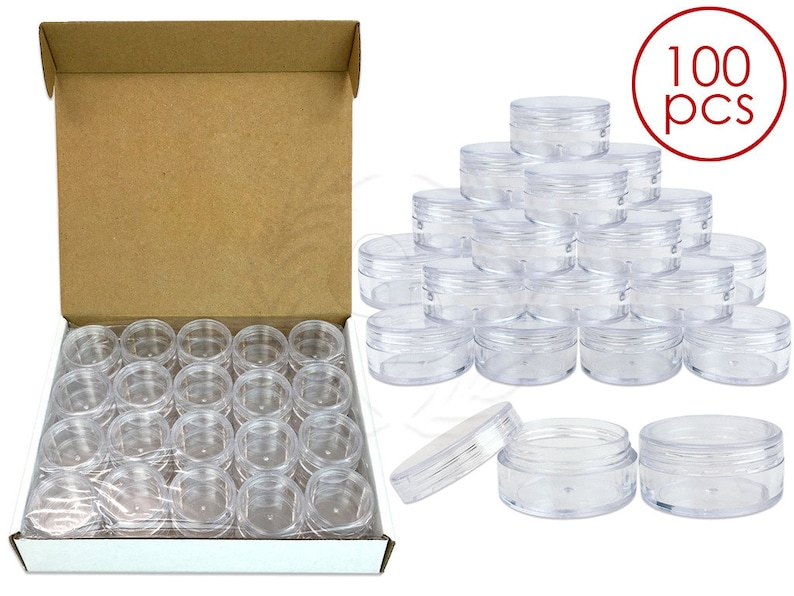 100 Piece 10 Gram 10 ml Round Acrylic Small Empty Refillable Clear Sample  Jar Container - DIY Homemade Lip Balm Hand Butter Beard Wax Cream