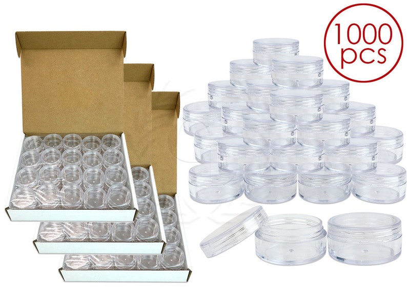 1000 Piece 10 Gram 10 ml Round Acrylic Small Empty Refillable Clear Sample  Jar Container - DIY Homemade Lip Balm Hand Butter Beard Wax Cream