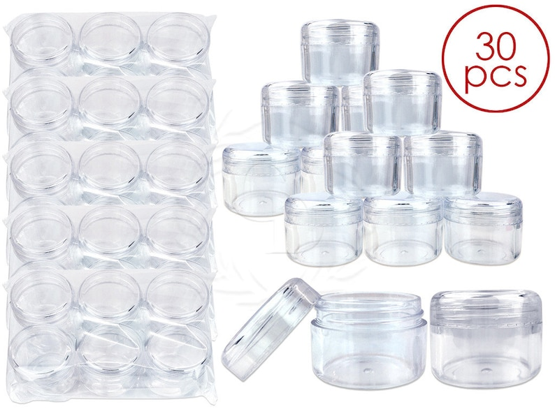 8fe8a4e291d3 30 Piece 1 Oz 30 Gram 30 ml Clear Acrylic Sample Jar Container with Round  Top Lids for Makeup Glitter Cream Powders Art Craft Supplies