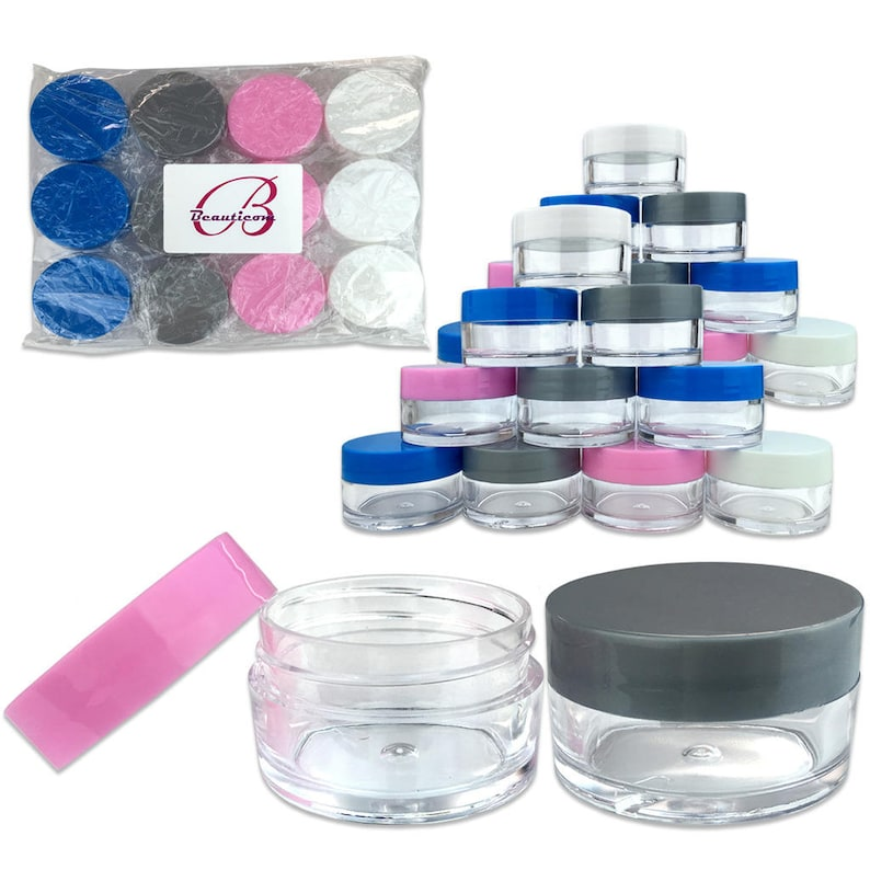 18b0c93407df 20 Gram 20 ml Round Refillable Clear Acrylic Jar Containers with White Blue  Pink and Gray Lids - For Makeup Cosmetic Beauty Travel Samples