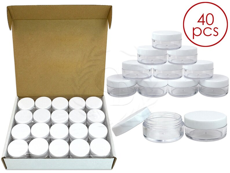 40 Piece 10 Gram 10 ml Round Acrylic Clear Sample Jar Containers with White  Lids - For DIY Homemade Lip Balm Hand Butter Beard Wax Creams