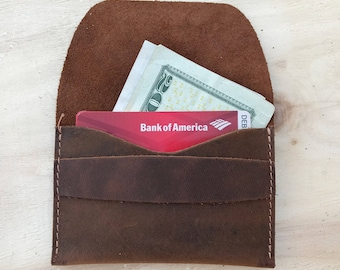 Personalized Leather Wallet, Unisex Wallet, Minimalist Leather Wallet, Slim Leather Wallet, Distressed Leather Wallet Father's Day Gift