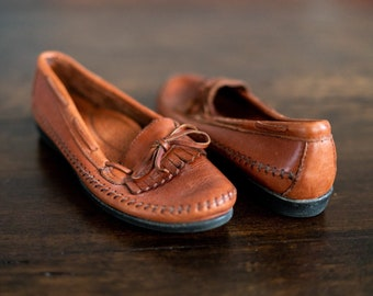 72f80ef3e9d Vintage Brown Leather Dexter Classic Tassel Penny Loafers Moccasins Size 7