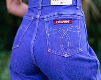 03efbac348 CRAZY Vintage 70s 80s Disco Bootylicious Purple Rare NOS New Old Stock With  Tags Super High Waisted Denim Mom Jeans Waist 28