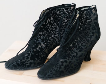 c84d25ae9c3 ON SALE!! Vintage Yves Saint Laurent Boho Hippy Burnout Black Velvet and  Sheer Paisley Floral Lace Up Ankle Booties Boots Size 6