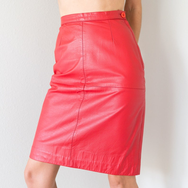 342af5f64d ON SALE Awesome Vintage 80s Genuine Red Leather High Waisted | Etsy