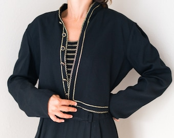 Vintage 80s Black Gold Nautical Rope Sailor Button Crop Cropped Jacket Size Medium M! Matching jumpsuit in my shop!